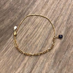 14k gold Evil eye oval figaro pull chain bracelet